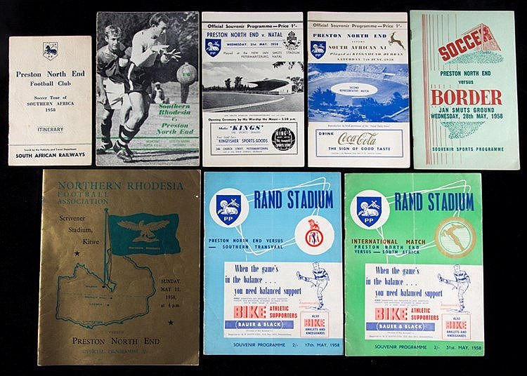 Seven programmes and an official club itinerary from the Preston North