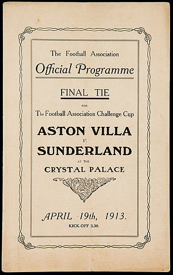 F.A. Cup Final programme Aston Villa v Sunderland played at the Crysta