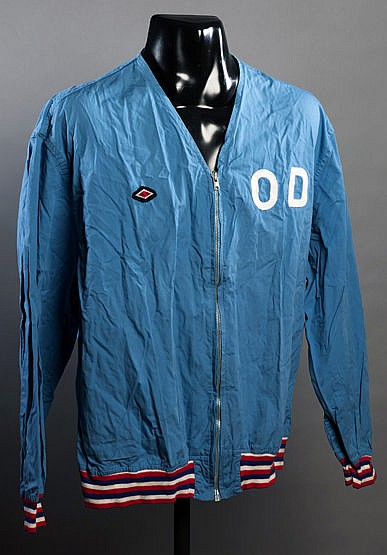 Alan Odell's light blue England 1970 World Cup track suit top,  by Umb