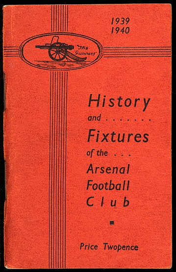 Arsenal handbook from the abandoned 1939-40 football season,  good con
