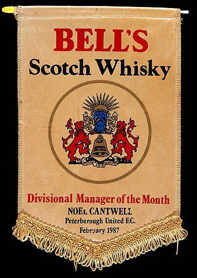 Noel Cantwell Manager of the Month pennant,  inscribed BELL'S SCOTCH W