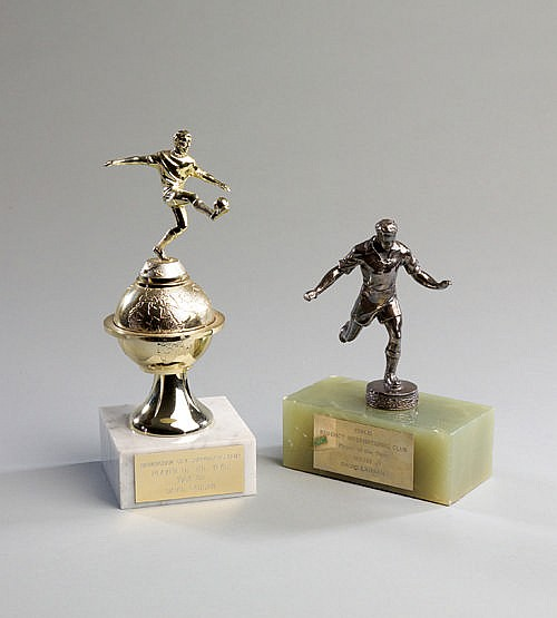 Two Birmingham City Player of the Year trophies presented to Dave Lang