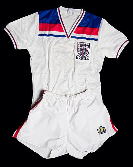 England Youth International kit, a white Admiral No.5 jersey inscribe