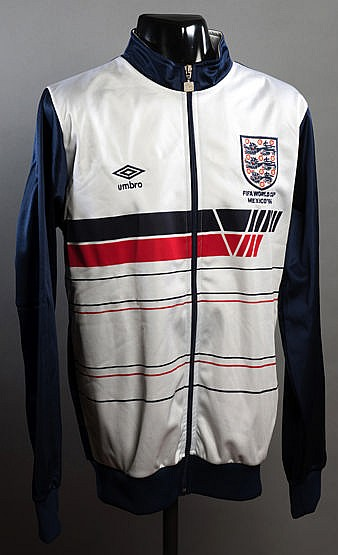 An England 1986 World Cup track suit top, by Umbro, white, blue & red
