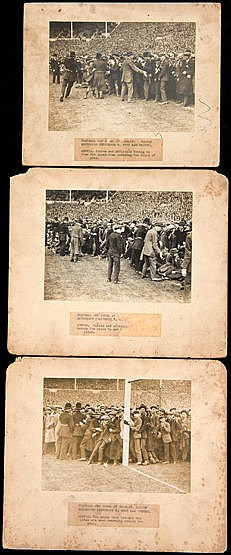 Three original photographs showing the chaotic crowd scenes at the fir