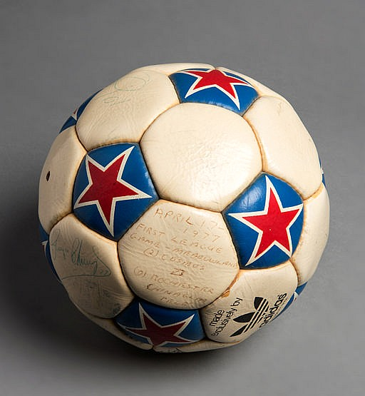 Match ball from the first Cosmos NASL home game played at the Giants S