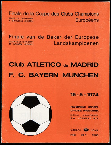 European Cup Final programme Atletico Madrid v Bayern Munich played at