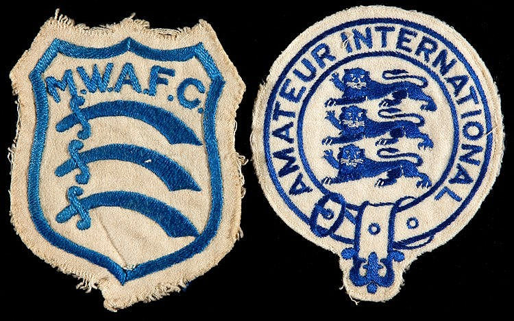 Two F J Gregory cloth shirt badges, an England amateur international