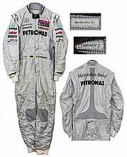 Michael Schumacher race-worn Mercedes Formula One racing suit from the