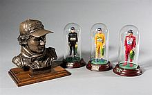 Ayrton Senna limited edition bronze by Vincent Hirst and three ceramic