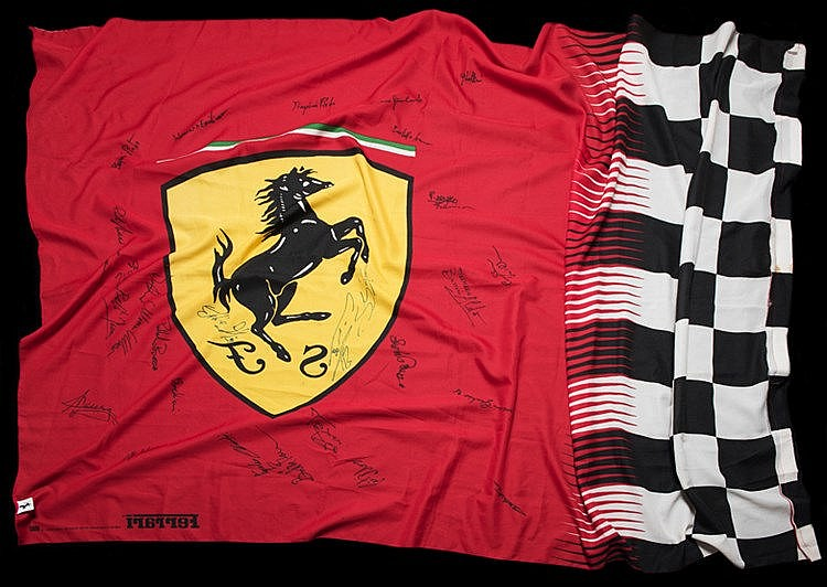 Large Ferrari flag signed by the Ferrari Formula 1 team in 1998,  sign