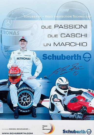 Michael Schumacher-signed large racing helmet design poster,  the sign