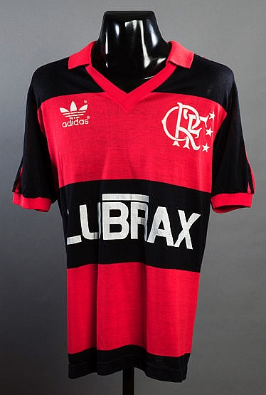 Zico red & black hooped Flamengo No.10 jersey 1987, short-sleeved