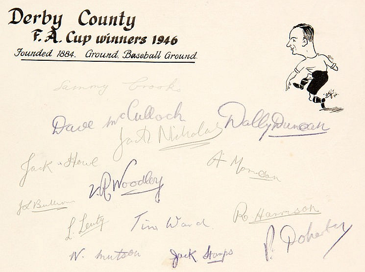 Derby County 1946 F.A. Cup winners autographs,  collected on a pre-pre