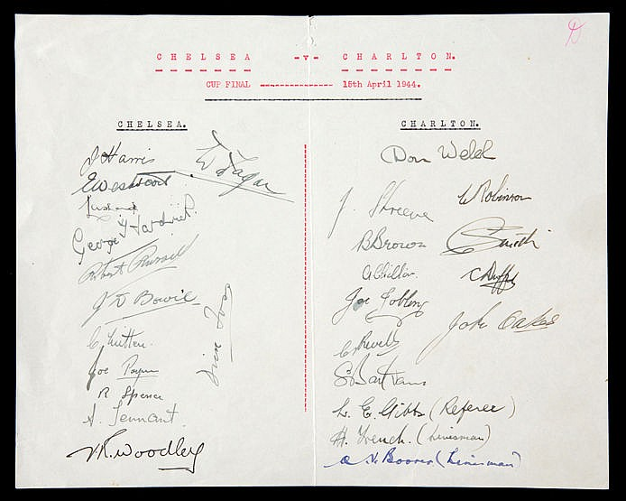 The autographs of the Chelsea and Charlton Athletic 1944 Football Leag
