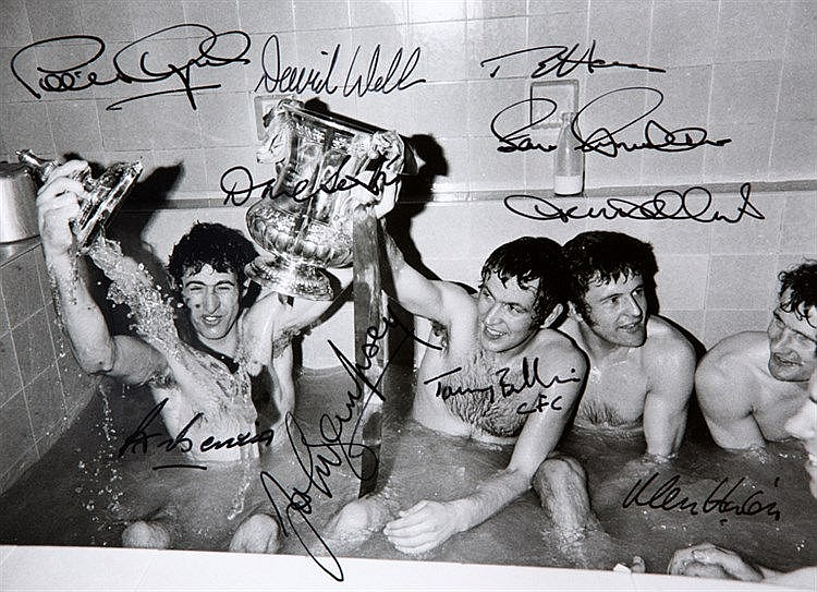 Signed Chelsea 1970 F.A. Cup winners celebration photograph,  signed b