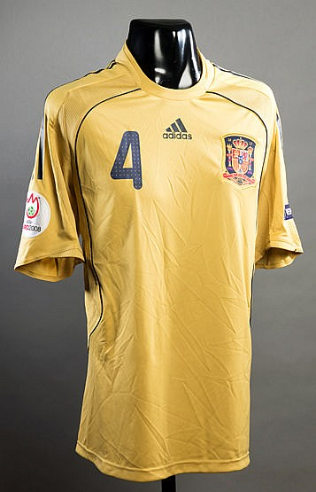 Carlos Marchena gold Spain No.4 Euro 2008 jersey, short-sleeved, tour