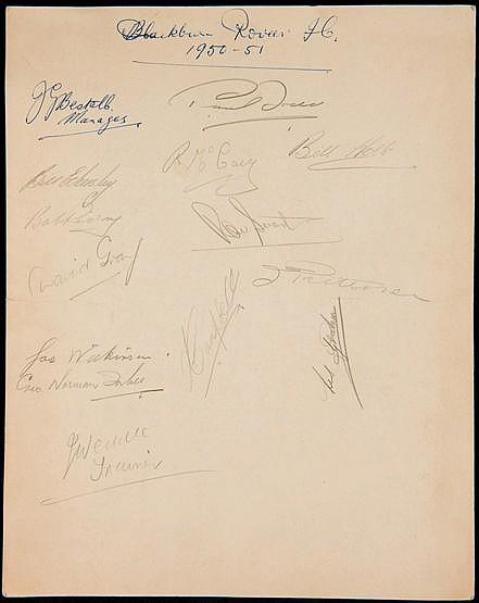 A Blackburn Rovers signed Howard Hotel, London, luncheon menu 30th Aug