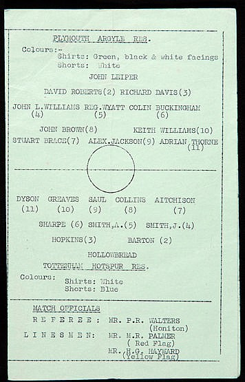 Scarce programme for Jimmy Greaves's first match in a Tottenham Hotspu
