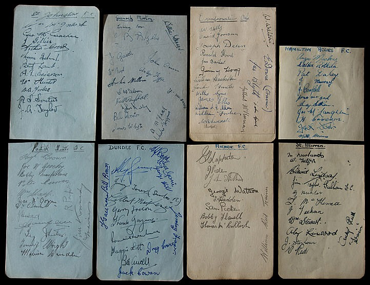Eight album pages with Scottish wartime football team-group autographs
