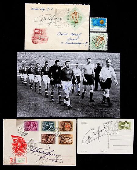 A group of Ferenc Puskas signed memorabilia,  i) a Budapest Honved 195