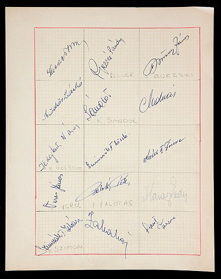 Red Banner (Hungary) football autographs 1950s,  signed into squares d