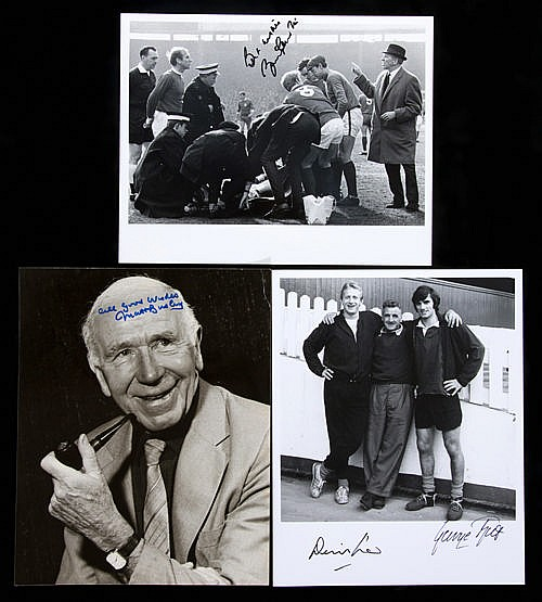 Manchester United photographs signed by Matt Busby, George Best, Denis