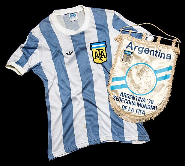 Alberto Tarantini match-worn Argentina blue & white striped No.3 jerse