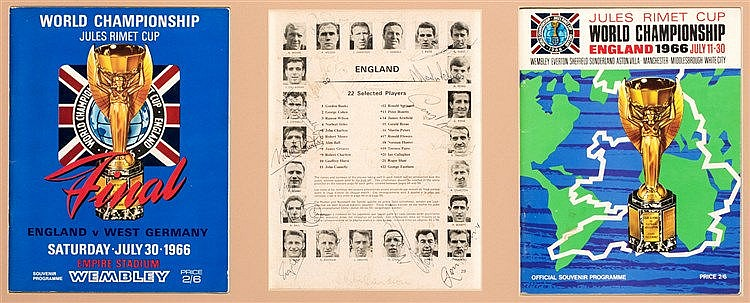 A 1966 World Cup presentation fully-signed by the England squad,  sign