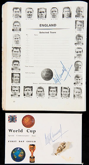 A 1966 World Cup Final programme and First Day Cover both signed by Al