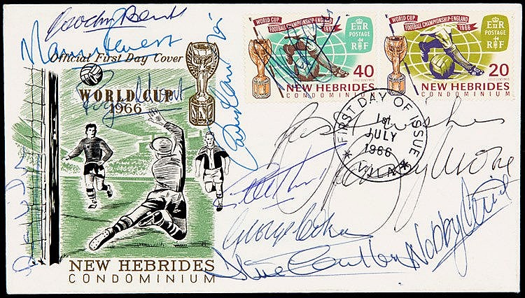 1966 World Cup postal cover fully-signed by the eleven England finalis