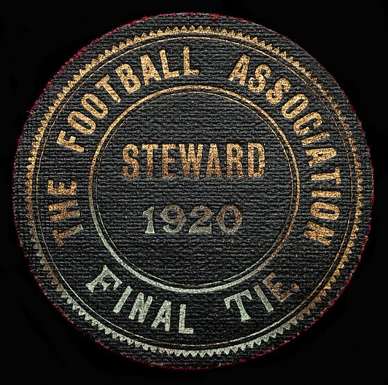 1920 F.A. Cup final steward's badge Aston Villa v Huddersfield Town pl