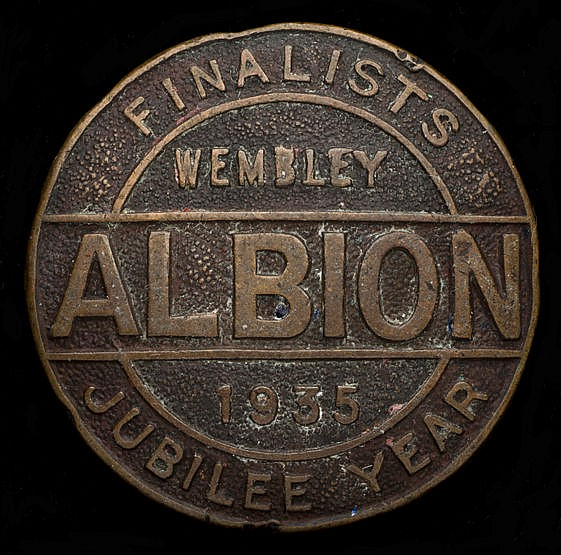 West Bromwich Albion badge,  bronze, inscribed ALBION, FINALISTS, WEMB