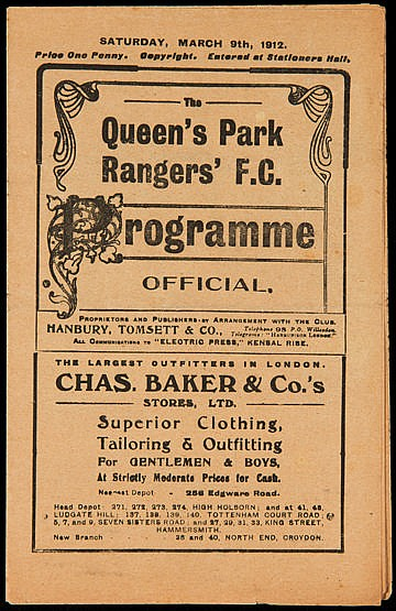 Queen's Park Rangers v Bristol Rovers programme 9th March 1912,  South