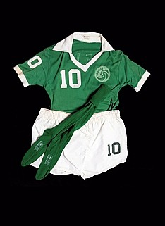 The full playing kit worn by Pele in his final competitive career foot