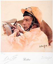 A signed Susan Crawford limited edition print of Lester Piggott, signed to
