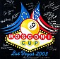A signed foam board poster for the 2003 Mosconi