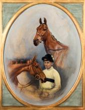 Susan Crawford (20th/21st century) STUDIES OF PAT TAAFFE AND 'ARKLE' signed, oil on canvas, oval, 54
