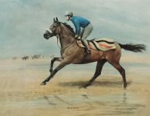 A Ginger McCain signed limited edition Susan Crawford print of ''Red Rum'', signed by the racehorse