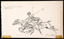 John Arthur Board (1886-1975) POLO PLAYERS: TO CONCENTRATE ON RIDING OFF THE OPPOSING BACK pen & ink
