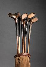 Seven scared-head golf clubs