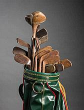 Collection of 31 hickory shafted golf clubs