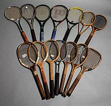 The evolution of the tennis racket: a collection of 14 lawn tennis rackets dating between circa 1880s-2000