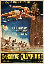 Large Italian poster for the official film of the Rome 1960 Olympic Games