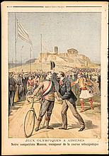 Athens 1896 Olympic Games: a supplement print issued by Le Petit Journal featuring the French triple gold medal winning cyclist Paul Masson