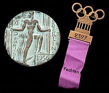A Berlin 1936 Olympic Games fencer's competitor's badge