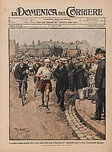 London 1908 Olympic Games: a colour front cover of the Italian magazine La Domenica del Corriere featuring Dorando Pietri leading the marathon race