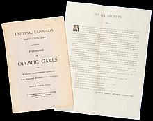 A rare programme of the Olympic Games of St Louis 1904