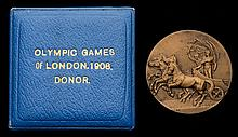 A 1908 London Olympic Games cased donor's medal