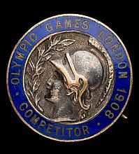 A London 1908 Olympic Games competitor's badge